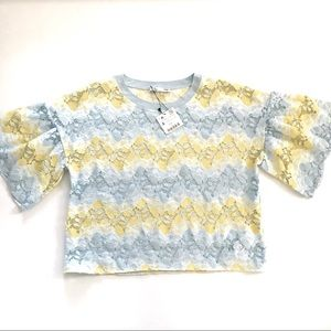Zara | Powder Blue Spring Yellow Lace Blouse Top